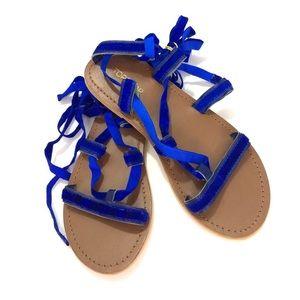 TopShop Ooen Toe Wraparound Blue Flats